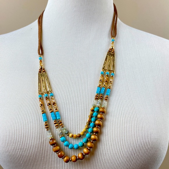 Layered Beaded Suede Tied Necklace